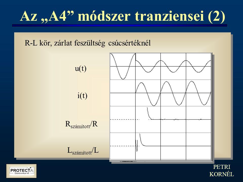 """PETRI KORNÉL Az """"A4"""" módszer tranziensei (2) R-L kör, zárlat feszültség csúcsértéknél u(t) i(t) R számított /R L számított /L"""