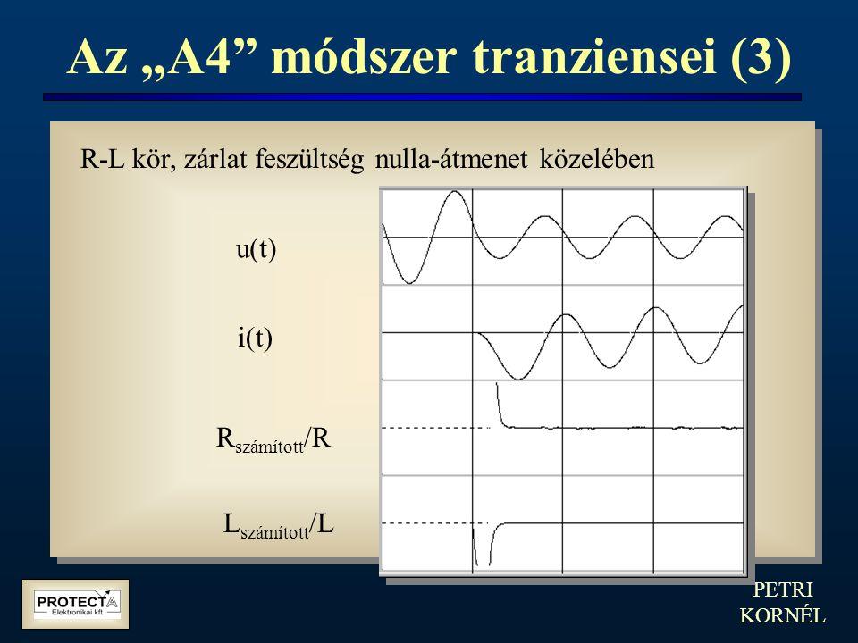 """PETRI KORNÉL Az """"A4"""" módszer tranziensei (3) R-L kör, zárlat feszültség nulla-átmenet közelében u(t) i(t) R számított /R L számított /L"""