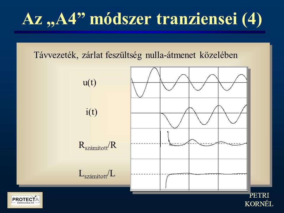 """PETRI KORNÉL Az """"A4"""" módszer tranziensei (4) Távvezeték, zárlat feszültség nulla-átmenet közelében u(t) i(t) R számított /R L számított /L"""