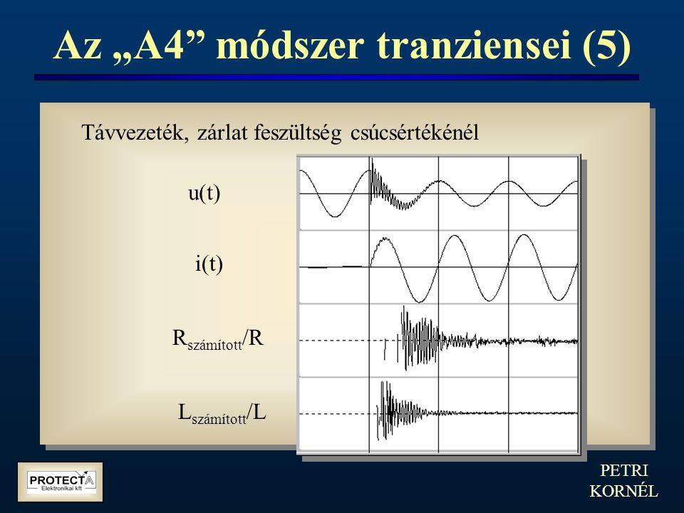 """PETRI KORNÉL Az """"A4"""" módszer tranziensei (5) Távvezeték, zárlat feszültség csúcsértékénél u(t) i(t) R számított /R L számított /L"""