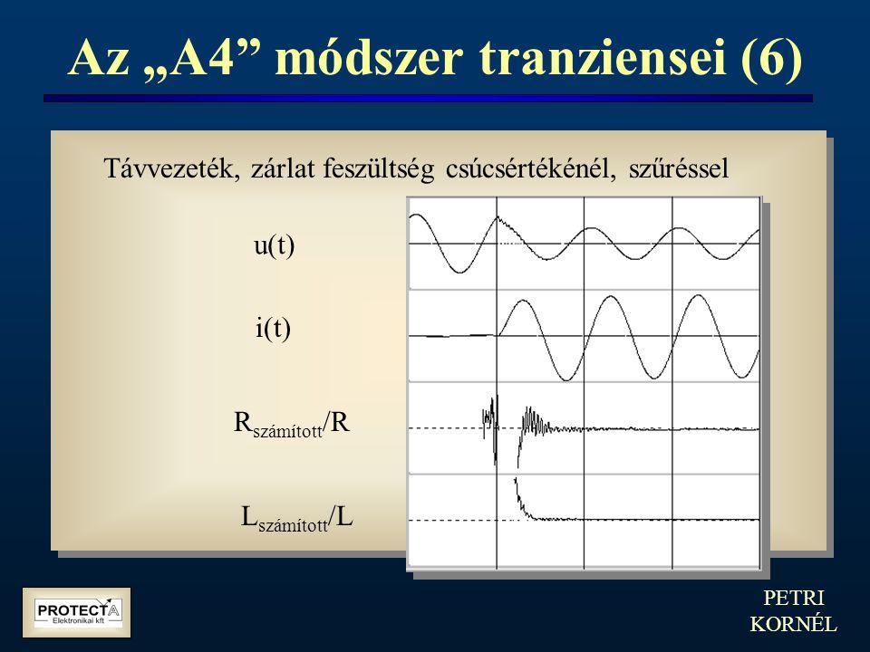 """PETRI KORNÉL Az """"A4"""" módszer tranziensei (6) Távvezeték, zárlat feszültség csúcsértékénél, szűréssel u(t) i(t) R számított /R L számított /L"""