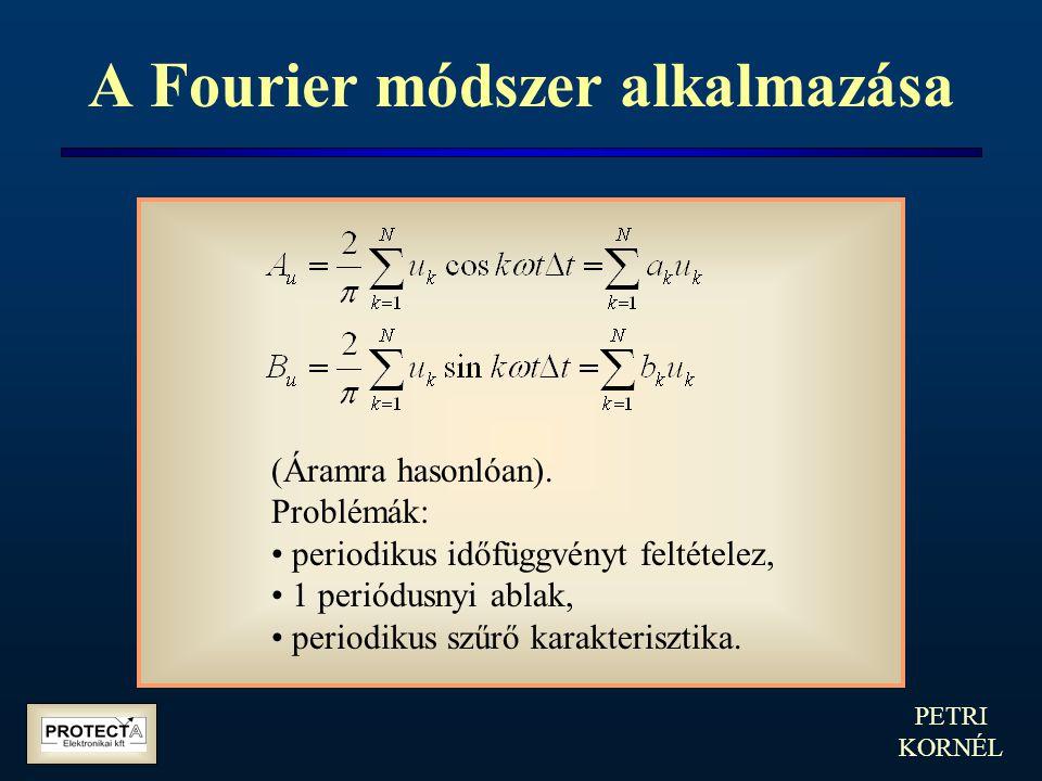 PETRI KORNÉL A Fourier módszer alkalmazása (Áramra hasonlóan). Problémák: periodikus időfüggvényt feltételez, 1 periódusnyi ablak, periodikus szűrő ka