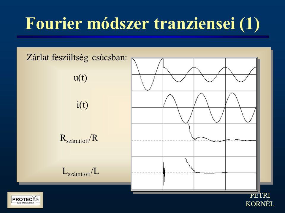 PETRI KORNÉL Fourier módszer tranziensei (1) Zárlat feszültség csúcsban: u(t) i(t) R számított /R L számított /L