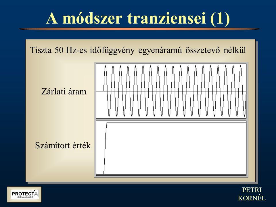 PETRI KORNÉL A módszer tranziensei (1) Tiszta 50 Hz-es időfüggvény egyenáramú összetevő nélkül Zárlati áram Számított érték