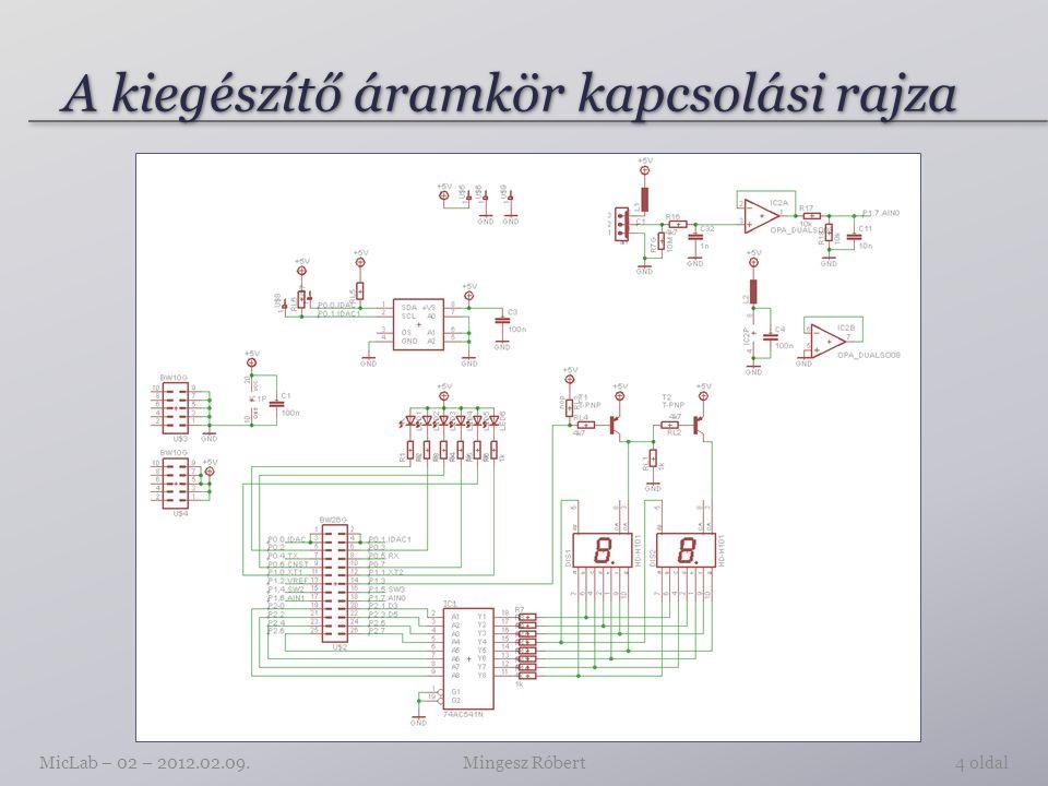 A kiegészítő áramkör panelterve Mingesz RóbertMicLab – 02 – 2012.02.09.5 oldal