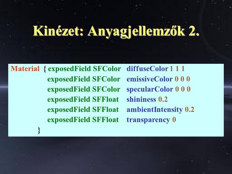 Kinézet: Anyagjellemzők 2. Material { exposedField SFColordiffuseColor 1 1 1 exposedField SFColoremissiveColor 0 0 0 exposedField SFColorspecularColor