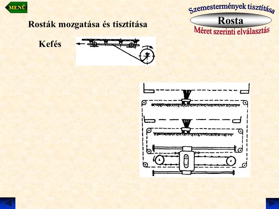 Rosták mozgatása és tisztítása Kefés Rosta MENÜ