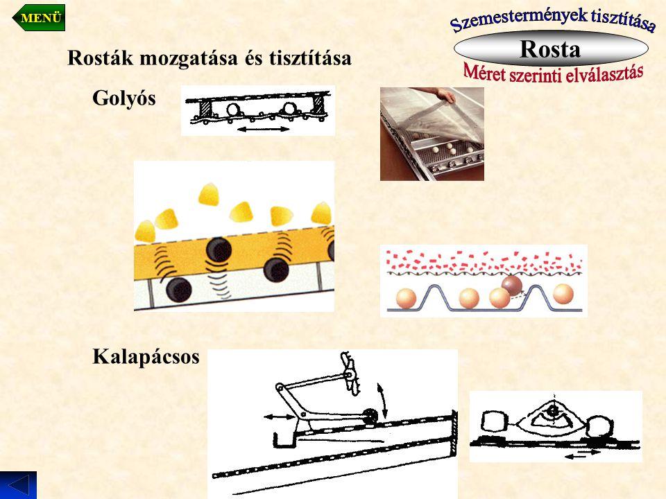 Rosták mozgatása és tisztítása Golyós Kalapácsos Rosta MENÜ