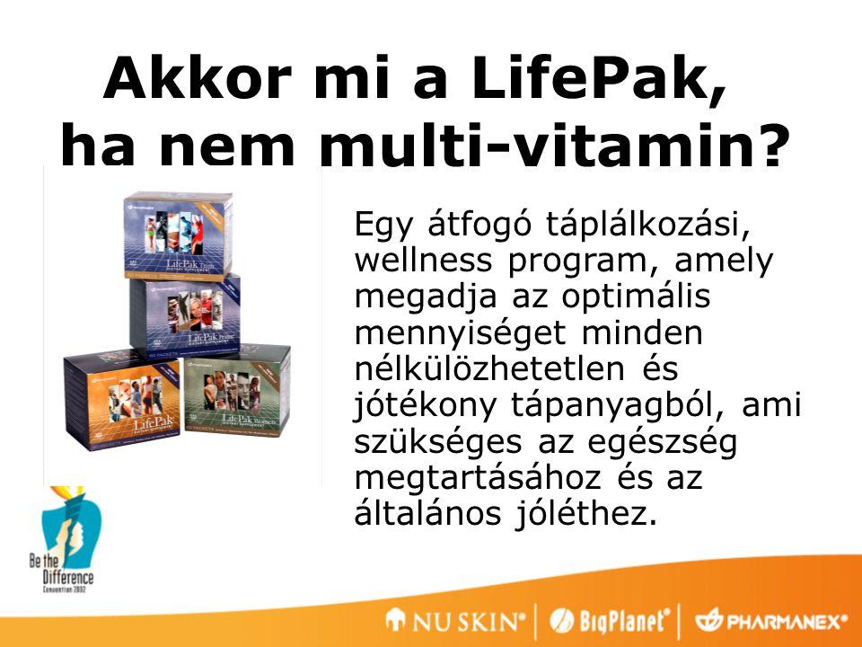 A LifePak hatása az egészségre 1.A bevitt tápanyag- elégtelenségre összpontosít 2.