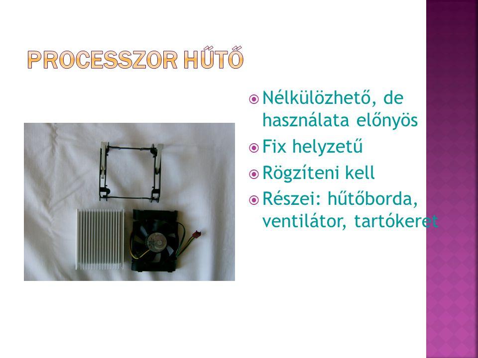  Nélkülözhető, de használata előnyös  Fix helyzetű  Rögzíteni kell  Részei: hűtőborda, ventilátor, tartókeret
