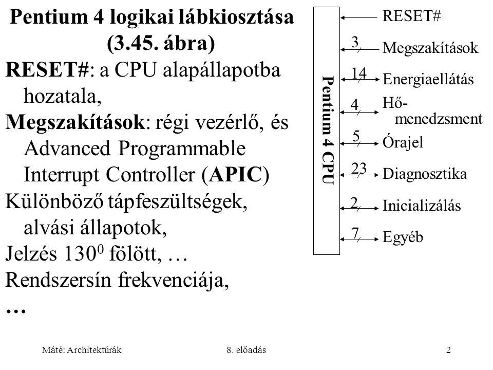 Máté: Architektúrák8. előadás2 Pentium 4 logikai lábkiosztása (3.45. ábra) RESET#: a CPU alapállapotba hozatala, Megszakítások: régi vezérlő, és Advan