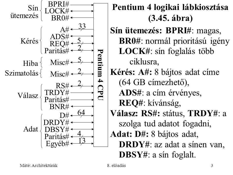 Máté: Architektúrák8. előadás3 Pentium 4 logikai lábkiosztása (3.45. ábra) Sín ütemezés: BPRI#: magas, BR0#: normál prioritású igény LOCK#: sín foglal