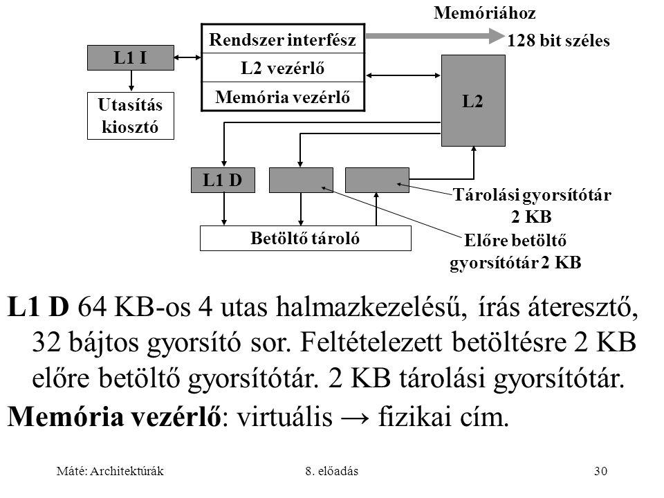 Máté: Architektúrák8. előadás30 Rendszer interfész L2 vezérlő Memória vezérlő L1 D L2 Betöltő tároló Tárolási gyorsítótár 2 KB Előre betöltő gyorsítót