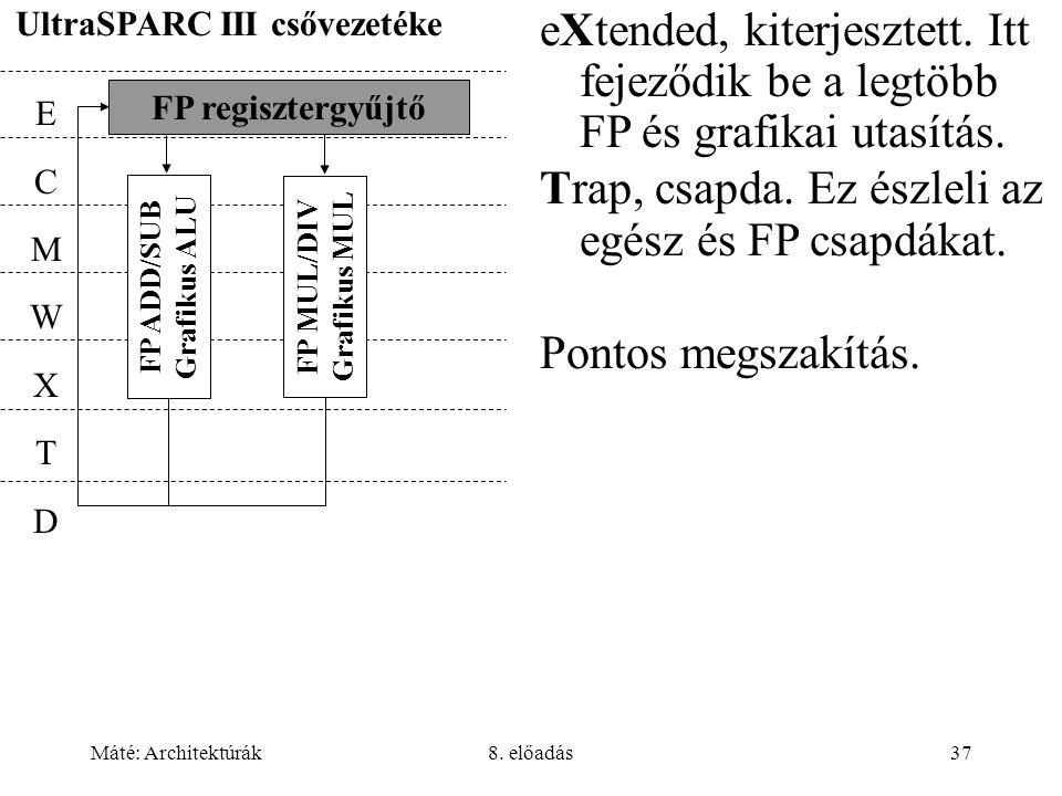 Máté: Architektúrák8. előadás37 UltraSPARC III csővezetéke FP regisztergyűjtő ECMWXTDECMWXTD FP ADD/SUB Grafikus ALU FP MUL/DIV Grafikus MUL eXtended,