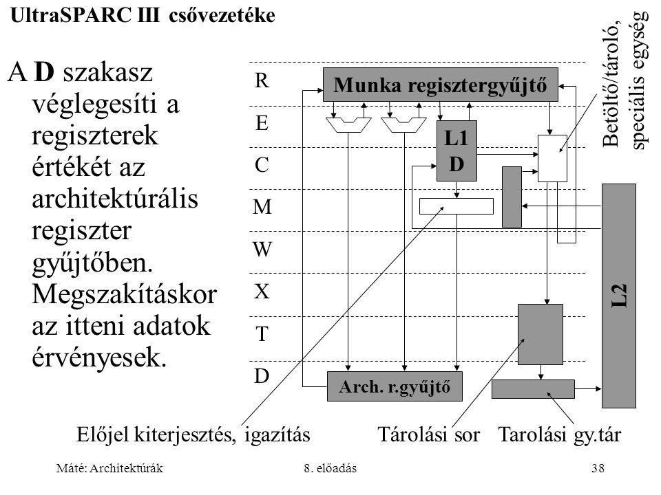 Máté: Architektúrák8. előadás38 UltraSPARC III csővezetéke Munka regisztergyűjtő RECMWXTDRECMWXTD L1 D L2 Arch. r.gyűjtő Előjel kiterjesztés, igazítás