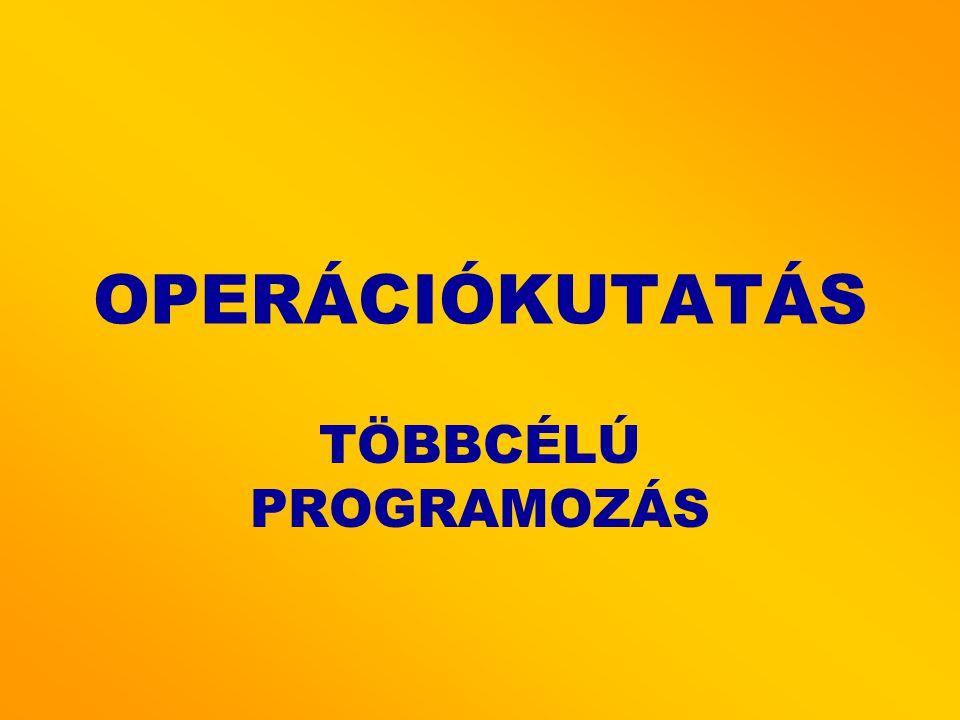 OPERÁCIÓKUTATÁS TÖBBCÉLÚ PROGRAMOZÁS
