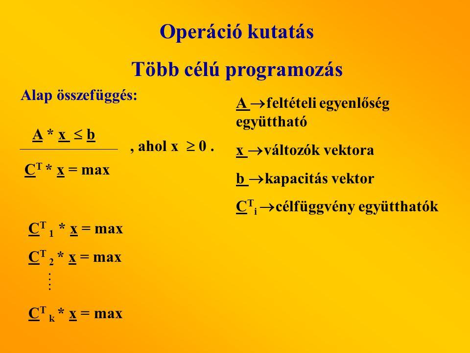 Operáció kutatás Több célú programozás Módszerek: 1.Szekvenciális optimalizálás 2.Súlyozás módszere: g(x) = t 1 ·C 1 ·x + t 2 ·C 2 ·x +…..+ t k ·C k ·x g(x) - Eredő célfüggvény t i - súlyok