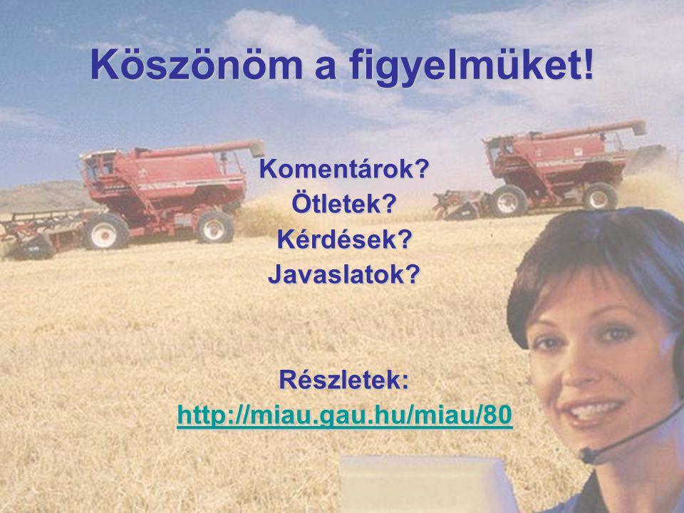 Köszönöm a figyelmüket! Komentárok? Ötletek? Kérdések? Javaslatok? Részletek: http://miau.gau.hu/miau/80