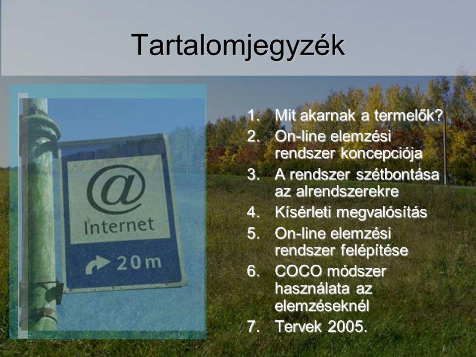 Tartalomjegyzék 1.Mit akarnak a termelők? 2.On-line elemzési rendszer koncepciója 3.A rendszer szétbontása az alrendszerekre 4.Kísérleti megvalósítás