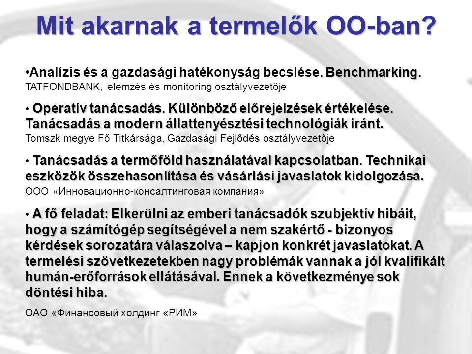 Mit akarnak a termelők OO-ban?. Benchmarking.Analízis és a gazdasági hatékonyság becslése. Benchmarking. TATFONDBANK, elemzés és monitoring osztályvez