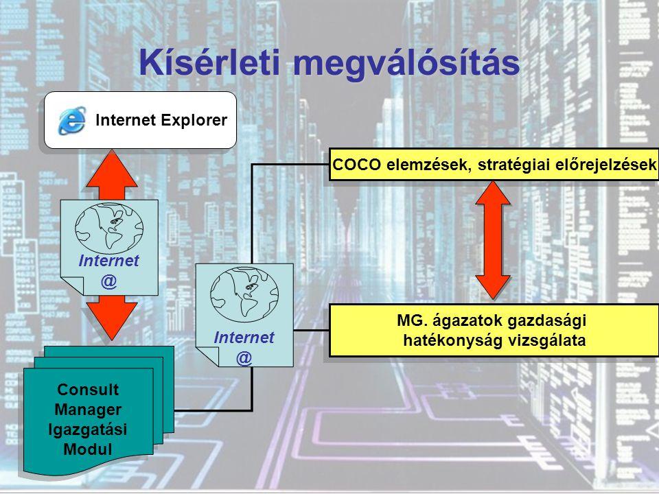 ON-LINE ELEMZÉSI MODUL (hatékonyság vizsgálata) ON-LINE ELEMZÉSI MODUL (hatékonyság vizsgálata) BENCHMARKING TANÁCSADÁSI MODUL (eredmények prezentálása) TANÁCSADÁSI MODUL (eredmények prezentálása) TUDÁSBÁZIS ADATBÁZIS TUDÁSBÁZIS ADATBÁZIS  @ internet környezet felhasználók Adatok küldése a vállalatról PHP PERL CLIPS MySQL PHP PERL