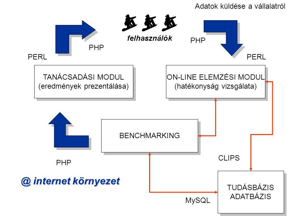 ONLINE ELEMZÉSI MODUL (hatékonyság vizsgálata) COCO (Component-based Object Comparison for Objectivity) módszert használja fel (Pitlik, 2004) Az összehasonlításhoz szükséges adatokat az Interneten keresztül szerzi a felhasználótól Visszaküldi a tanácsot az Interneten keresztül