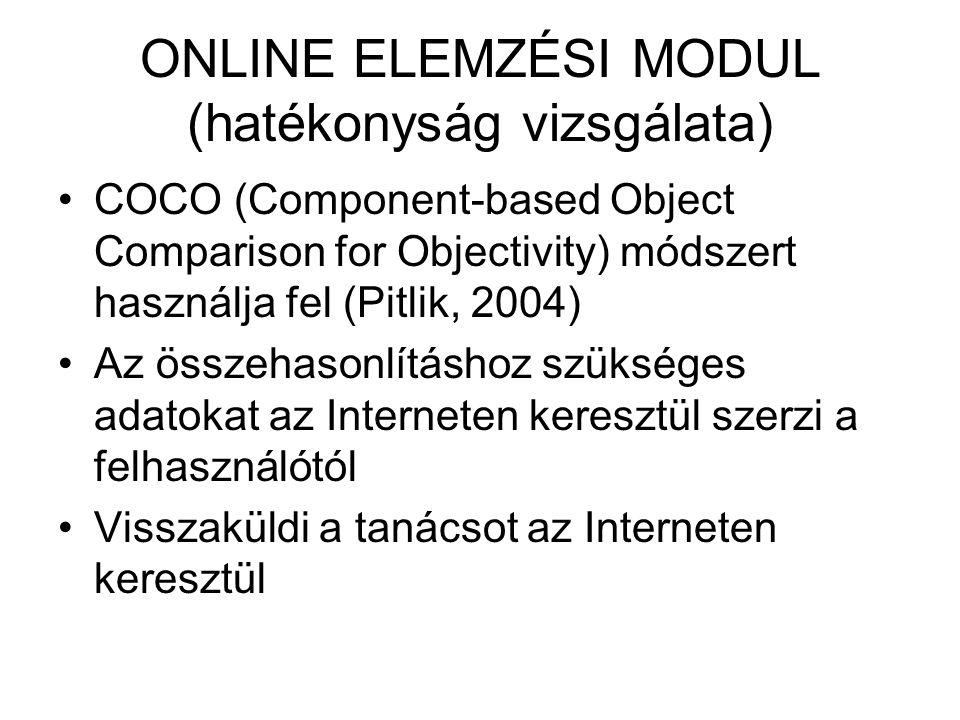 ONLINE ELEMZÉSI MODUL (hatékonyság vizsgálata) COCO (Component-based Object Comparison for Objectivity) módszert használja fel (Pitlik, 2004) Az össze