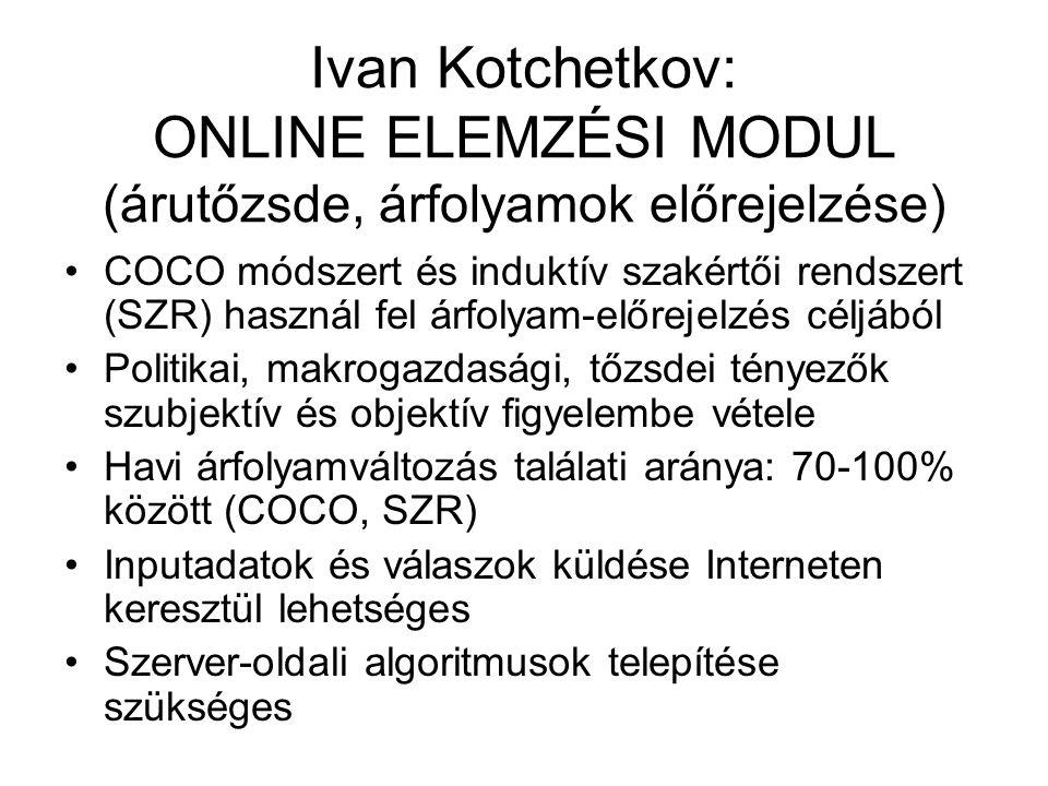 Ivan Kotchetkov: ONLINE ELEMZÉSI MODUL (árutőzsde, árfolyamok előrejelzése) COCO módszert és induktív szakértői rendszert (SZR) használ fel árfolyam-e