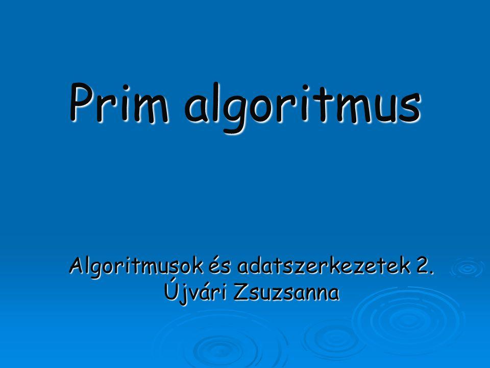 """Az algoritmus elve Minimális feszítőfát keres Egy csúcsból indulva növekszik, amíg az összes csúcsot el nem éri Inicializálás: – Vegyünk egy kezdőcsúcsot Amíg nincs meg az összes csúcs – Válasszunk ki egy minimális súlyú """"u-v élt, ahol """"u már szerepel az új gráfban, """"v viszont nem – """"v -t és """"u-v -t hozzáadjuk az új gráfhoz"""