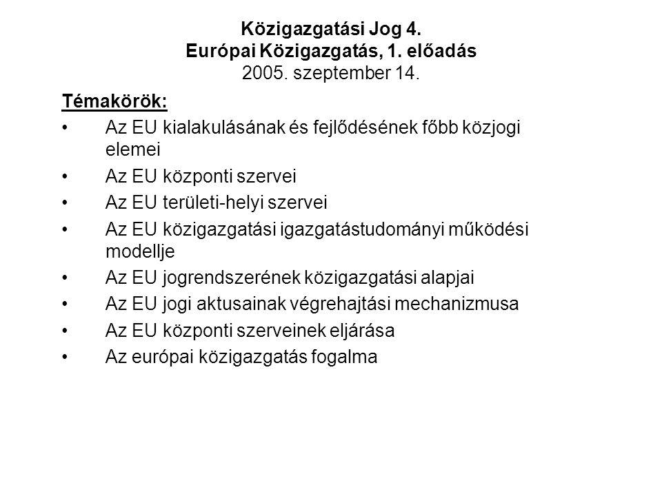 Közigazgatási Jog 4. Európai Közigazgatás, 1. előadás 2005.
