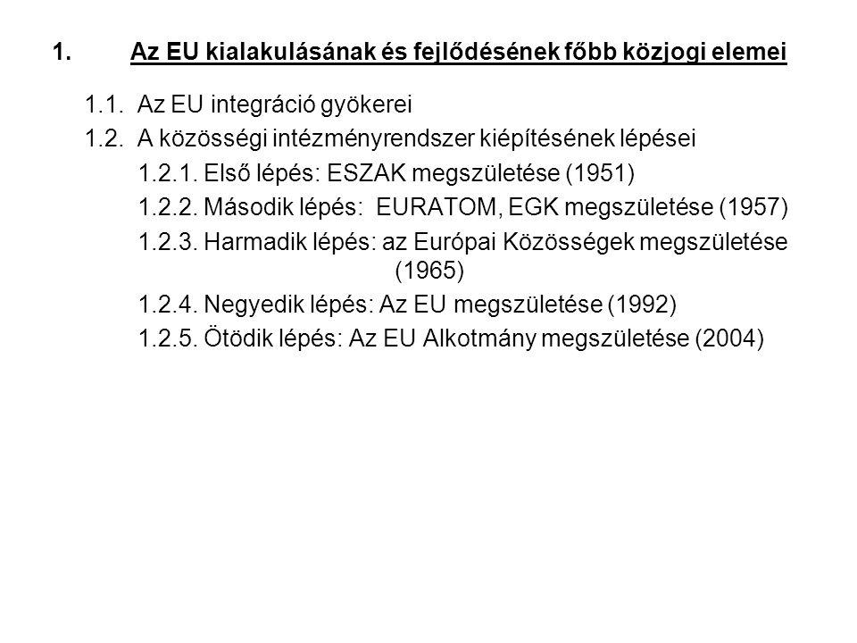1.Az EU kialakulásának és fejlődésének főbb közjogi elemei 1.1.