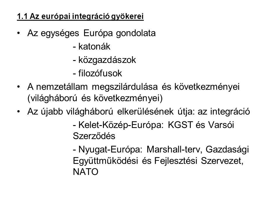 1.1 Az európai integráció gyökerei Az egységes Európa gondolata - katonák - közgazdászok - filozófusok A nemzetállam megszilárdulása és következményei (világháború és következményei) Az újabb világháború elkerülésének útja: az integráció - Kelet-Közép-Európa: KGST és Varsói Szerződés - Nyugat-Európa: Marshall-terv, Gazdasági Együttműködési és Fejlesztési Szervezet, NATO