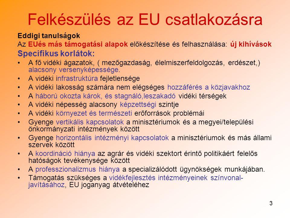 3 Felkészülés az EU csatlakozásra Eddigi tanulságok Az EUés más támogatási alapok előkészítése és felhasználása: új kihívások Specifikus korlátok: A fő vidéki ágazatok, ( mezőgazdaság, élelmiszerfeldolgozás, erdészet,) alacsony versenyképessége.