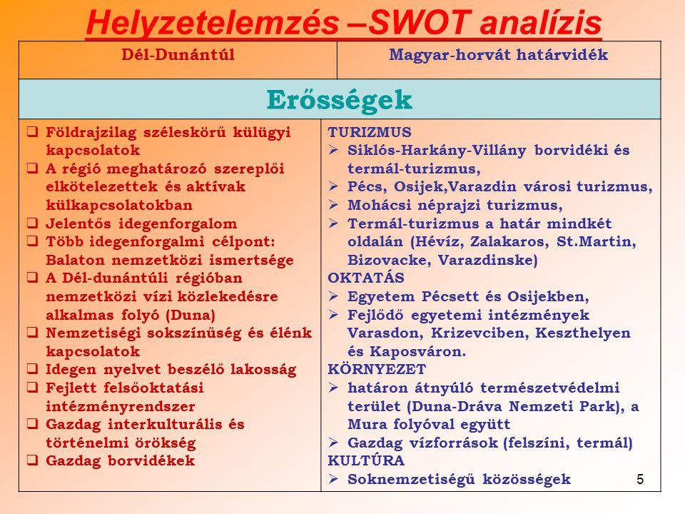 5 Helyzetelemzés –SWOT analízis Dél-DunántúlMagyar-horvát határvidék Erősségek  Földrajzilag széleskörű külügyi kapcsolatok  A régió meghatározó szereplői elkötelezettek és aktívak külkapcsolatokban  Jelentős idegenforgalom  Több idegenforgalmi célpont: Balaton nemzetközi ismertsége  A Dél-dunántúli régióban nemzetközi vízi közlekedésre alkalmas folyó (Duna)  Nemzetiségi sokszínűség és élénk kapcsolatok  Idegen nyelvet beszélő lakosság  Fejlett felsőoktatási intézményrendszer  Gazdag interkulturális és történelmi örökség  Gazdag borvidékek TURIZMUS  Siklós-Harkány-Villány borvidéki és termál-turizmus,  Pécs, Osijek,Varazdin városi turizmus,  Mohácsi néprajzi turizmus,  Termál-turizmus a határ mindkét oldalán (Hévíz, Zalakaros, St.Martin, Bizovacke, Varazdinske) OKTATÁS  Egyetem Pécsett és Osijekben,  Fejlődő egyetemi intézmények Varasdon, Krizevciben, Keszthelyen és Kaposváron.