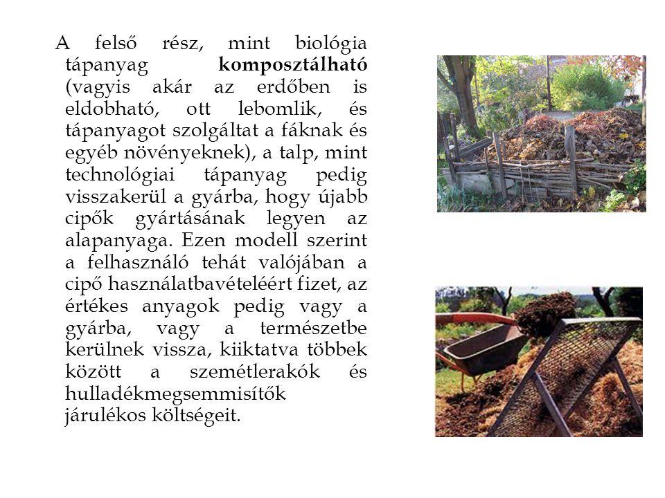A felső rész, mint biológia tápanyag komposztálható (vagyis akár az erdőben is eldobható, ott lebomlik, és tápanyagot szolgáltat a fáknak és egyéb növ