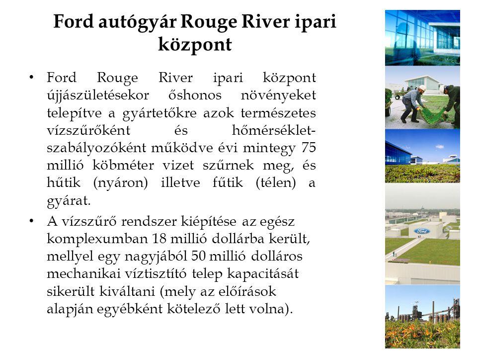 Ford autógyár Rouge River ipari központ Ford Rouge River ipari központ újjászületésekor őshonos növényeket telepítve a gyártetőkre azok természetes ví