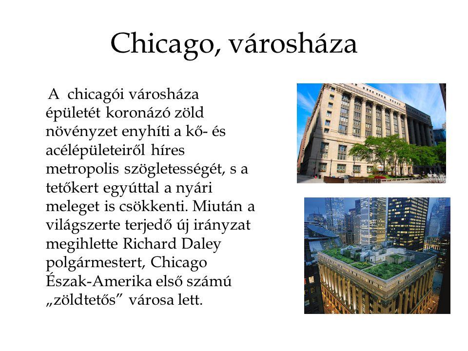 Chicago, városháza A chicagói városháza épületét koronázó zöld növényzet enyhíti a kő- és acélépületeiről híres metropolis szögletességét, s a tetőker