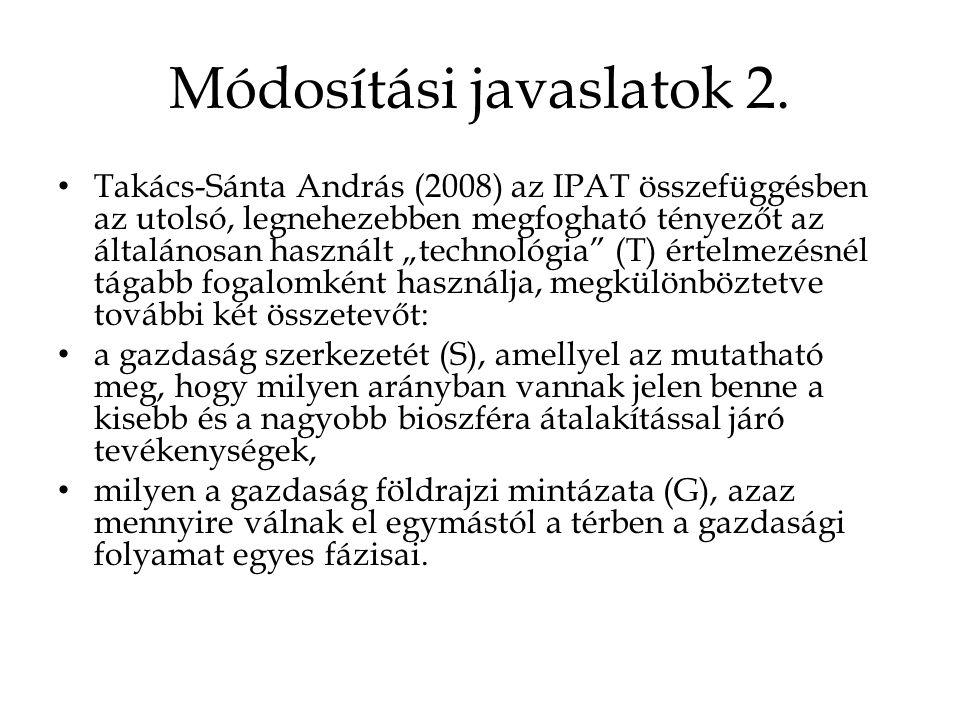 """Módosítási javaslatok 2. Takács-Sánta András (2008) az IPAT összefüggésben az utolsó, legnehezebben megfogható tényezőt az általánosan használt """"techn"""