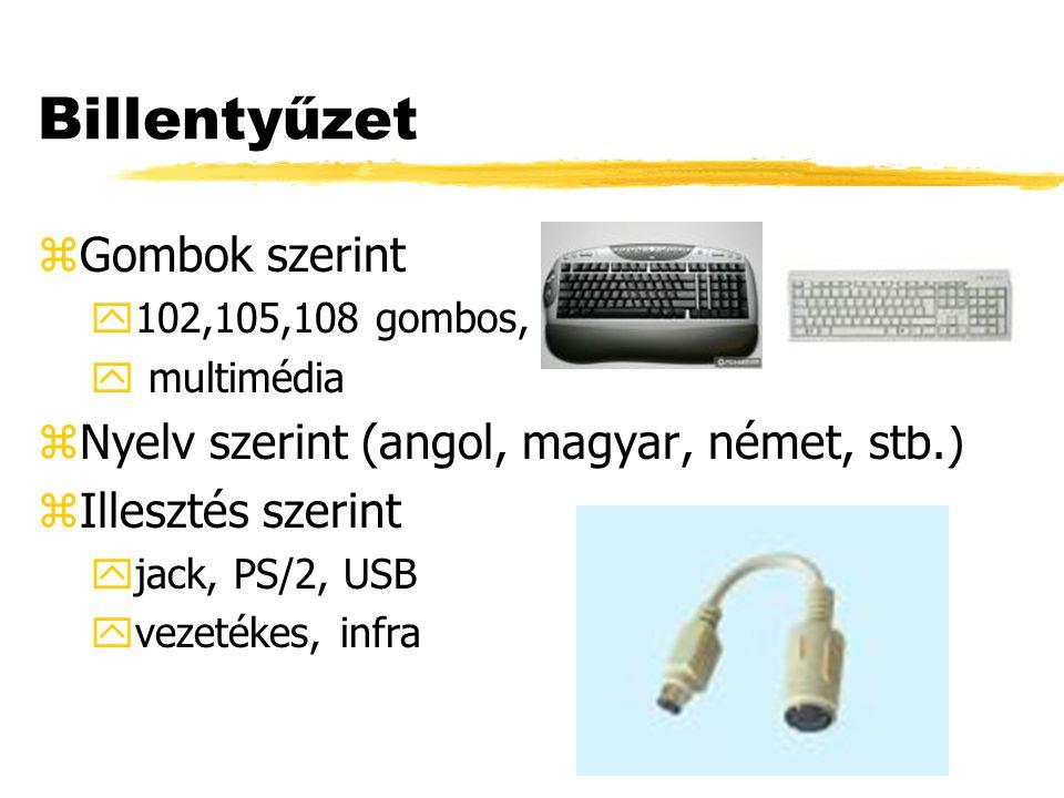 Billentyűzet zGombok szerint y102,105,108 gombos, y multimédia zNyelv szerint (angol, magyar, német, stb.) zIllesztés szerint yjack, PS/2, USB yvezeté