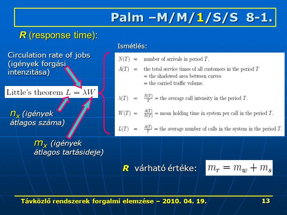 Távközlő rendszerek forgalmi elemzése – 2010. 04. 19. 13 Palm –M/M/1/S/S 8-1. Ismétlés: Circulation rate of jobs (igények forgási intenzitása) m x (ig