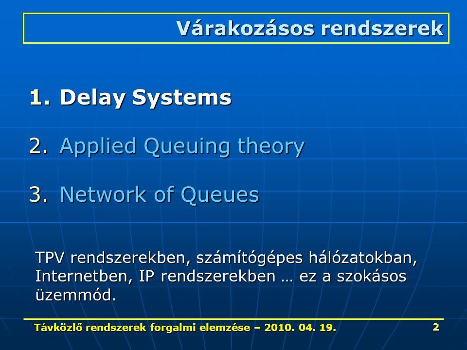 Távközlő rendszerek forgalmi elemzése – 2010. 04. 19. 2 1.Delay Systems 2.Applied Queuing theory 3.Network of Queues Várakozásos rendszerek TPV rendsz