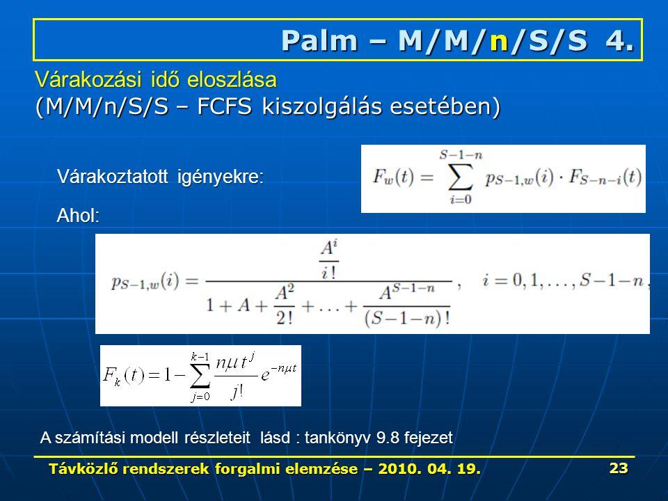 Távközlő rendszerek forgalmi elemzése – 2010. 04. 19. 23 Palm – M/M/n/S/S 4. Várakozási idő eloszlása (M/M/n/S/S – FCFS kiszolgálás esetében) Várakozt