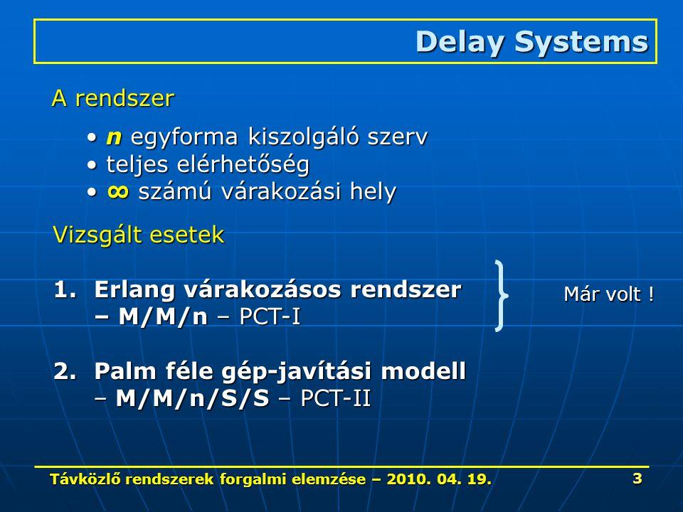 Távközlő rendszerek forgalmi elemzése – 2010. 04. 19. 3 Delay Systems A rendszer n egyforma kiszolgáló szerv n egyforma kiszolgáló szerv teljes elérhe