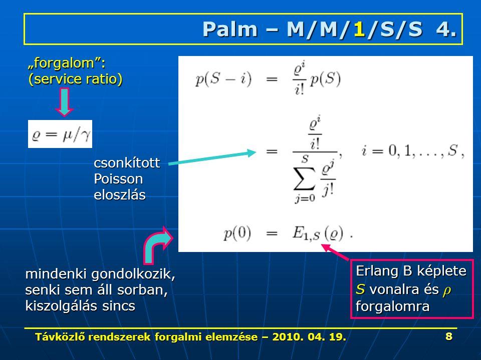Távközlő rendszerek forgalmi elemzése – 2010. 04. 19. 8 Palm – M/M/1/S/S 4. csonkítottPoissoneloszlás mindenki gondolkozik, senki sem áll sorban, kisz