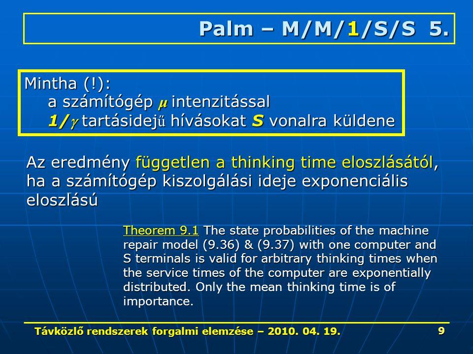 Távközlő rendszerek forgalmi elemzése – 2010. 04. 19. 9 Palm – M/M/1/S/S 5. Mintha (!): a számítógép μ intenzitással 1/ tartásidej ű hívásokat S vona