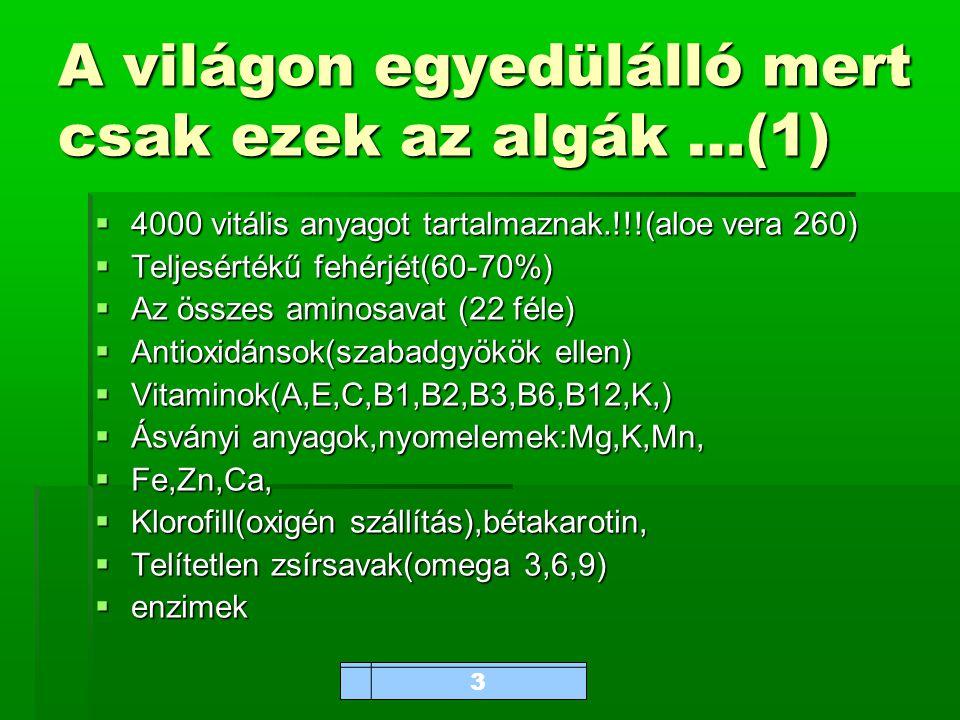 www.bioalga.hu A világon egyedülálló mert csak ezek az algák …(1)  4000 vitális anyagot tartalmaznak.!!!(aloe vera 260)  Teljesértékű fehérjét(60-70%)  Az összes aminosavat (22 féle)  Antioxidánsok(szabadgyökök ellen)  Vitaminok(A,E,C,B1,B2,B3,B6,B12,K,)  Ásványi anyagok,nyomelemek:Mg,K,Mn,  Fe,Zn,Ca,  Klorofill(oxigén szállítás),bétakarotin,  Telítetlen zsírsavak(omega 3,6,9)  enzimek 3