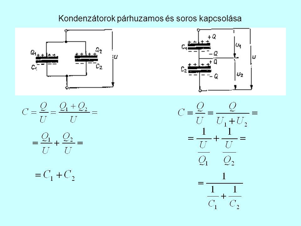 Kondenzátorok párhuzamos és soros kapcsolása