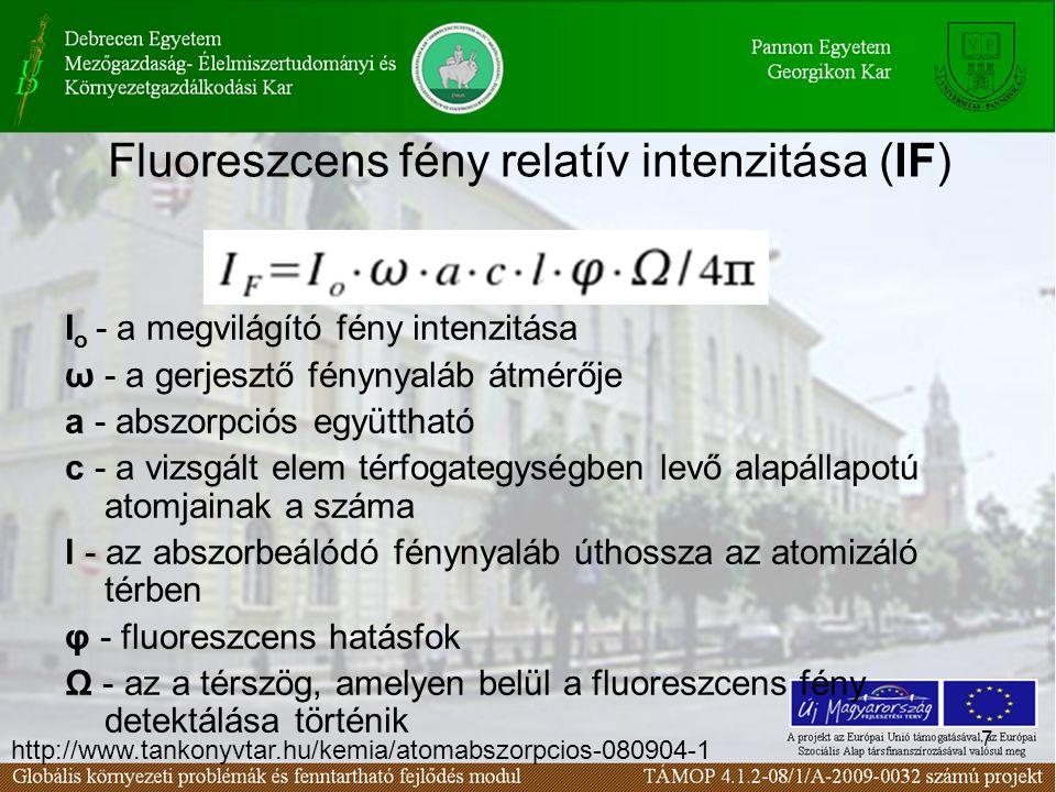7 Fluoreszcens fény relatív intenzitása (IF) I o - a megvilágító fény intenzitása ω - a gerjesztő fénynyaláb átmérője a - abszorpciós együttható c - a vizsgált elem térfogategységben levő alapállapotú atomjainak a száma l - az abszorbeálódó fénynyaláb úthossza az atomizáló térben φ - fluoreszcens hatásfok Ω - az a térszög, amelyen belül a fluoreszcens fény detektálása történik http://www.tankonyvtar.hu/kemia/atomabszorpcios-080904-1