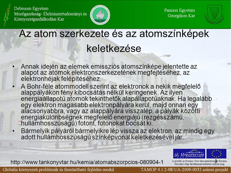 8 Az atom szerkezete és az atomszínképek keletkezése Annak idején az elemek emissziós atomszínképe jelentette az alapot az atomok elektronszerkezetének megfejtéséhez, az elektronhéjak felépítéséhez.