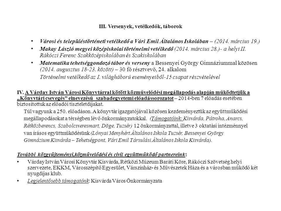 V.Támogatott rendezvények, kiadványok, könyvbemutatók: Rákóczi-hét programjai (2014.